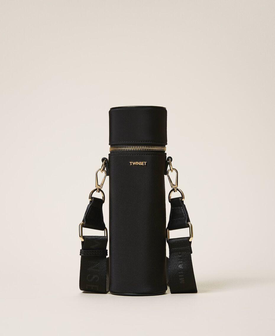 Trinkflaschenset mit Tasche aus technischem Satin Schwarz Frau 202TD8086-03