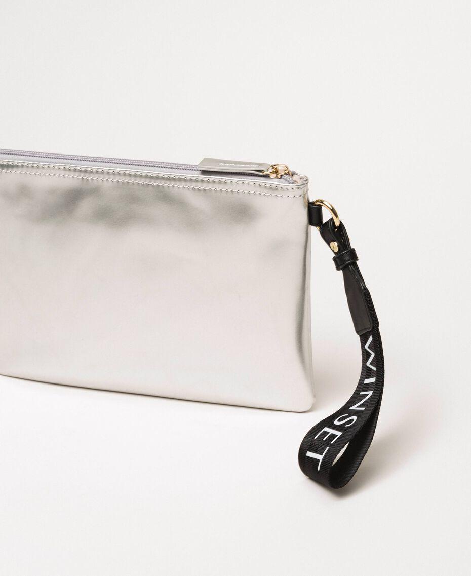 Patent leather effect faux leather pochette Titanium Gray Woman 201TA717A-02