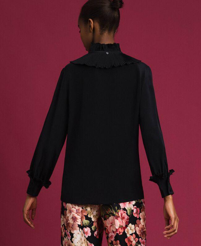 Chemise en crêpe de Chine de soie mélangée Noir Femme 192TP2100-03