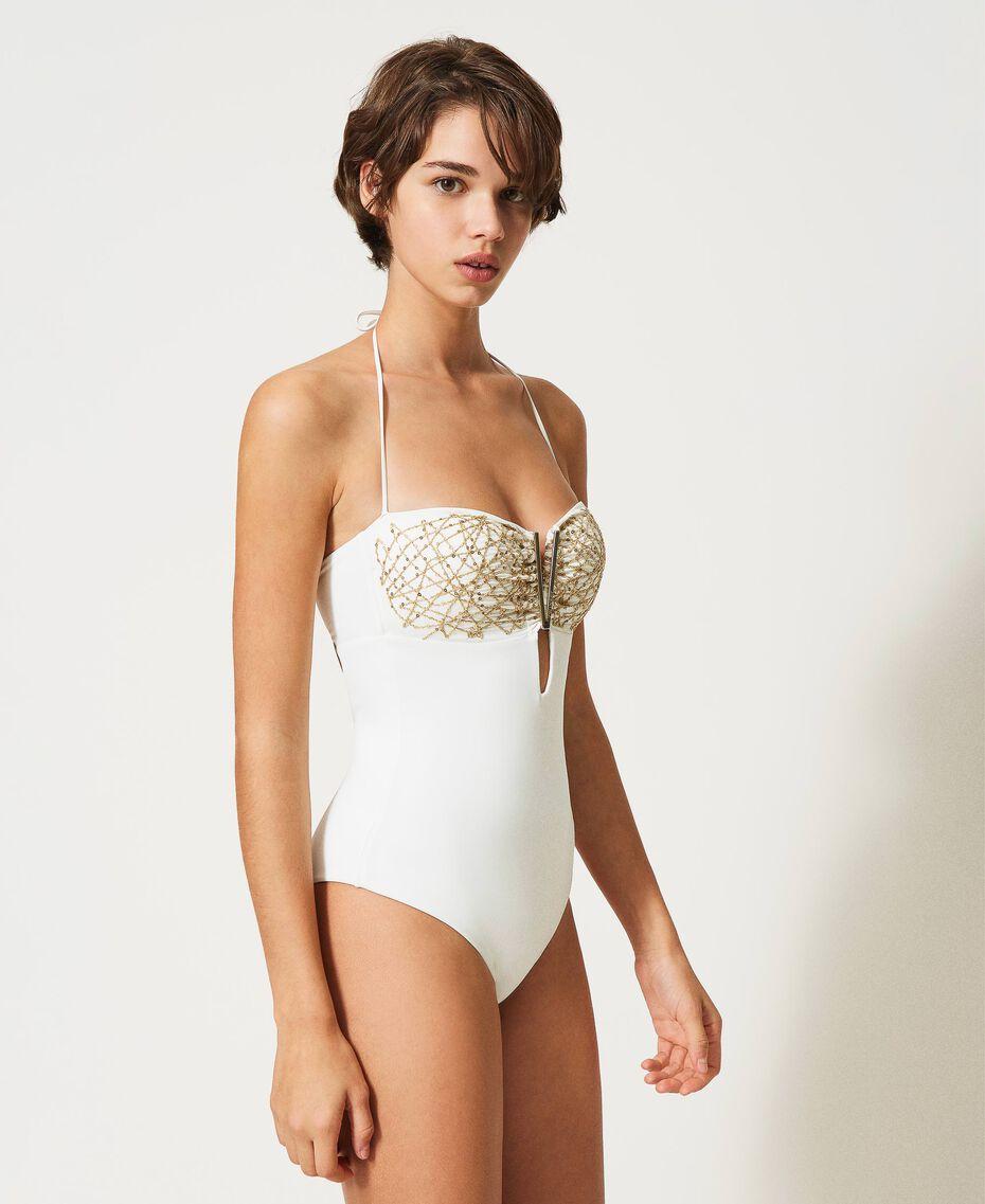 Badeanzug mit Pailletten Elfenbein Frau 211LMM800-02