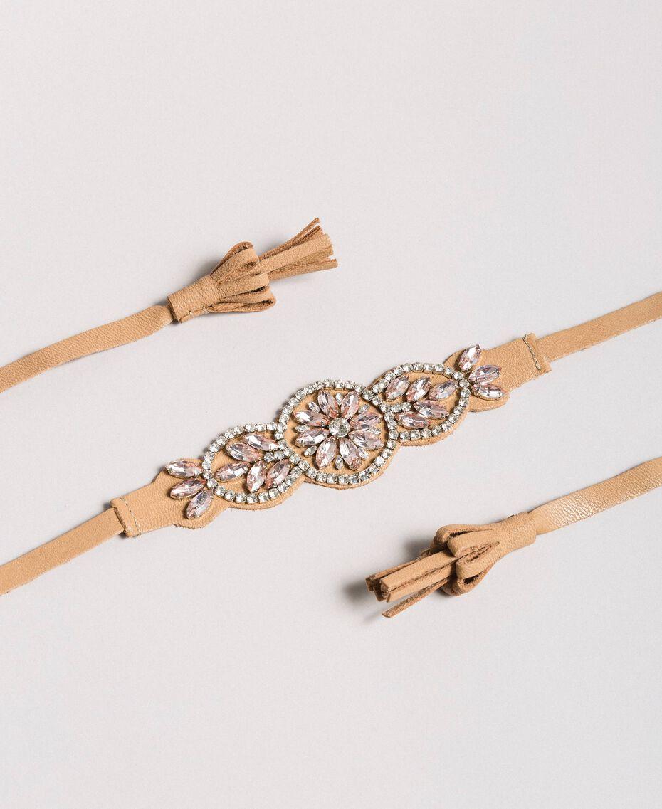 Ожерелье-ремешок со стразами Бежевый Нуга женщина 191TA431M-01