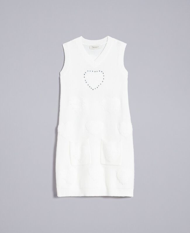 Long knitted gilet with hearts Off White Child GA83DA-01