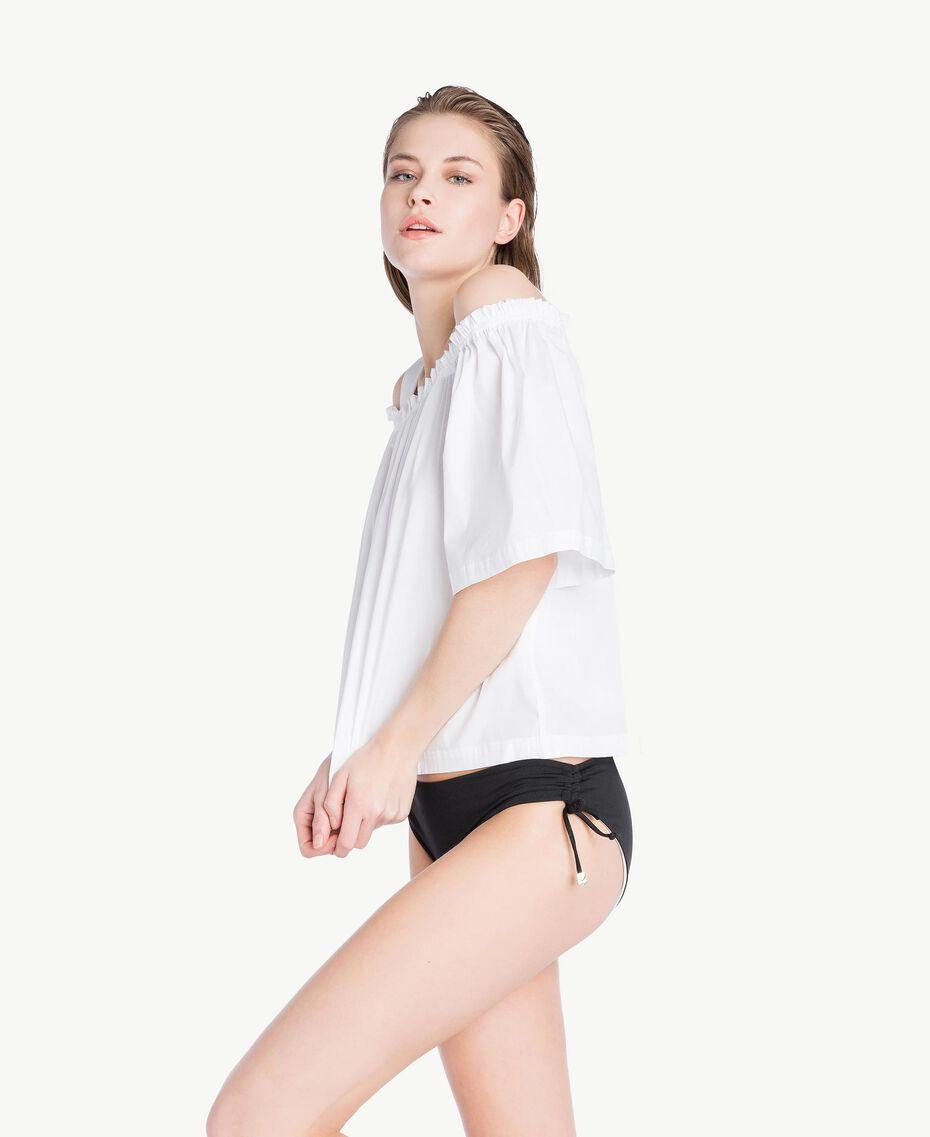 Bluse aus Popeline Weiß Frau BS8EMM-03
