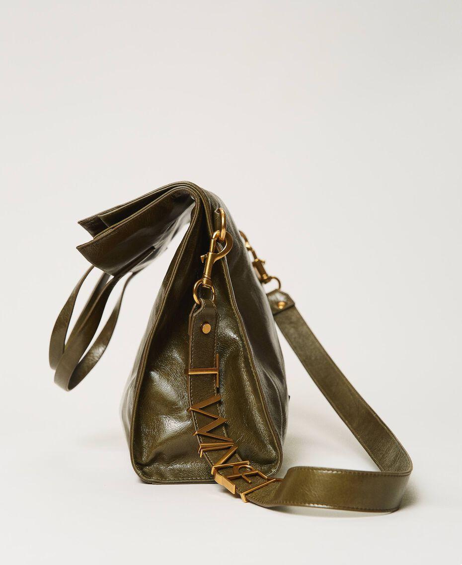 Borsa shopper Twinset Bag in pelle ripiegabile Dark Olive Green Donna 202TB7099-01