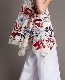 Floral print and lace crêpe top Exotic Ecru Print Woman 191ST2234-03