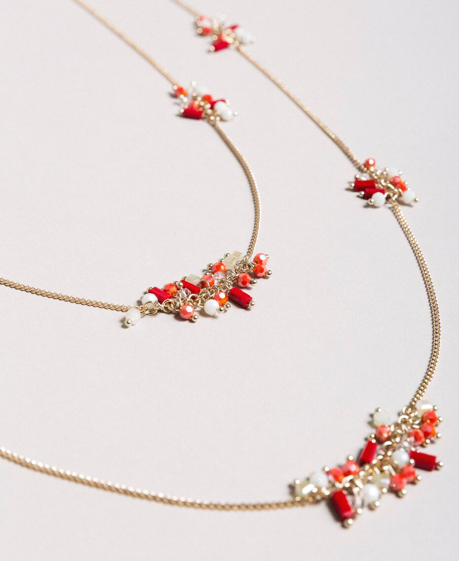 "Multi-string necklace with beads Multicolour ""Lipstick Red"" Woman 191TO5342-02"