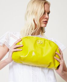 """Shiny leather soft clutch """"Led"""" Yellow Woman 211TD8060-0S"""