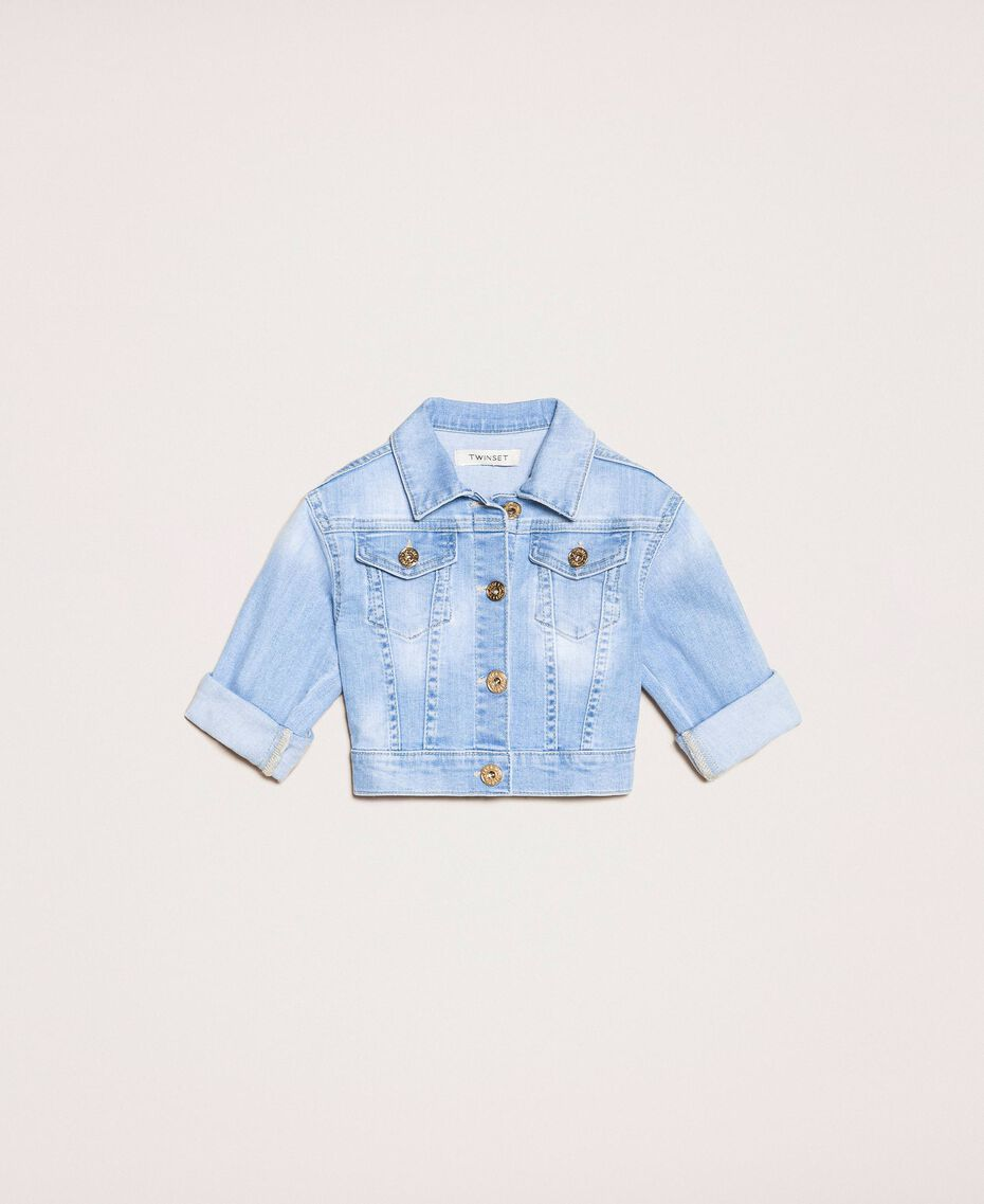 Giacca boxy in jeans con ricamo Denim Chiaro Bambina 201GB236A-01