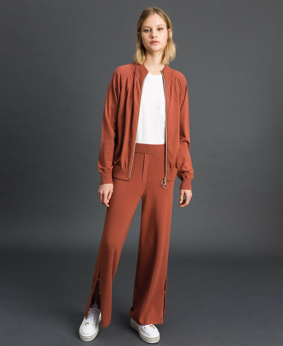 "Knit palazzo trousers ""Chic-ness"" Brown Woman 192LI3NFF-0T"