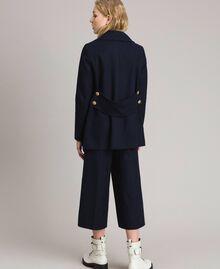 Caban en laine à double boutonnage Bleu Foncé Femme 191TP2510-04
