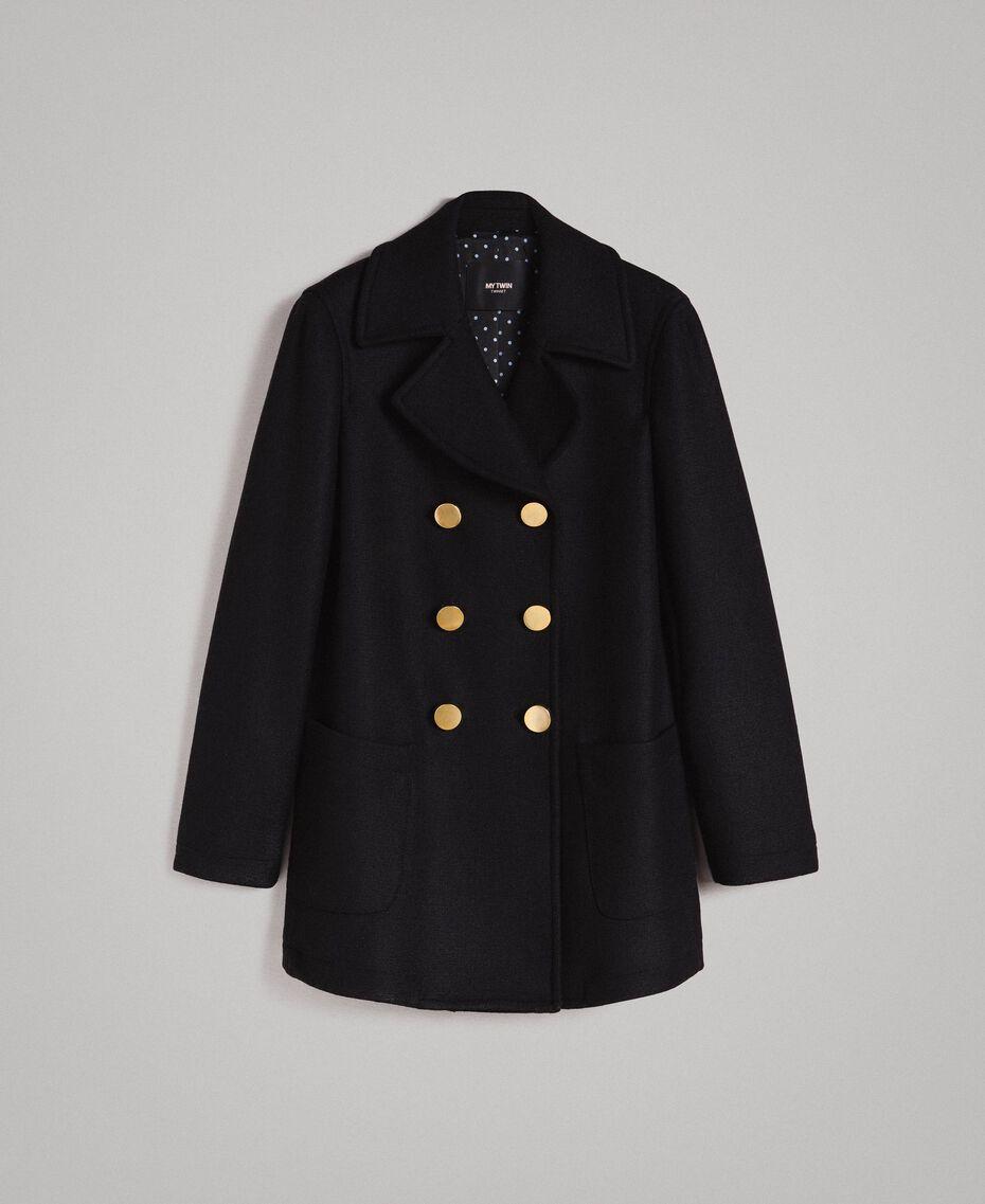 Mantel aus Tuchstoff Schwarz Frau 191MP2461-0S