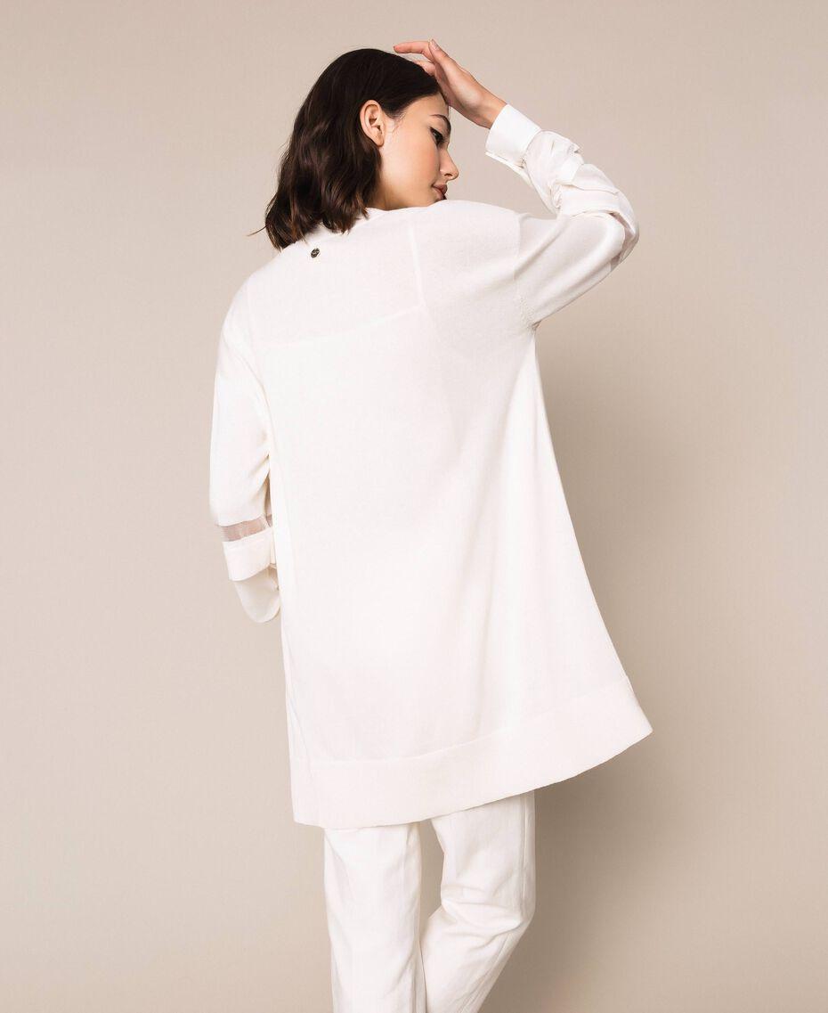 """Cardigan en lin mélangé orné d'insertions Blanc """"Soie"""" Femme 201ST3020-03"""