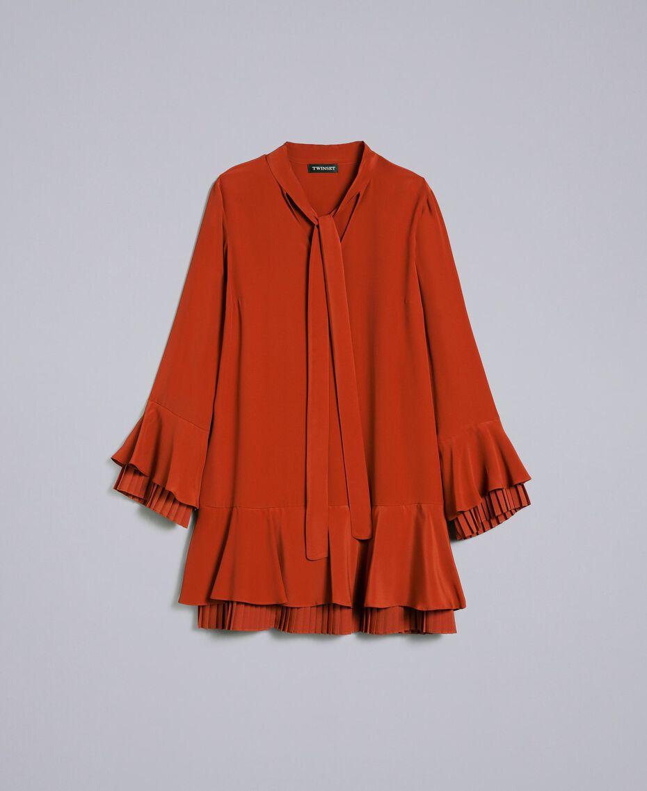 Kurzes Kleid aus Seidenmischung mit Plissee Rotbraun Frau TA823S-0S