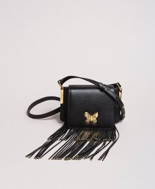 Leather Bea shoulder bag with fringes Black Woman 191TO8231-04