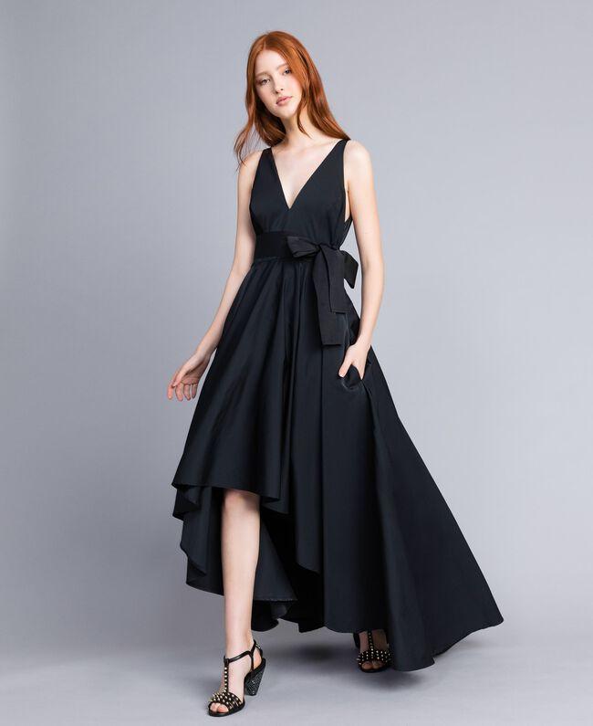 b2f3ce70b Vestido largo asimétrico Negro Mujer QA8TGC-01