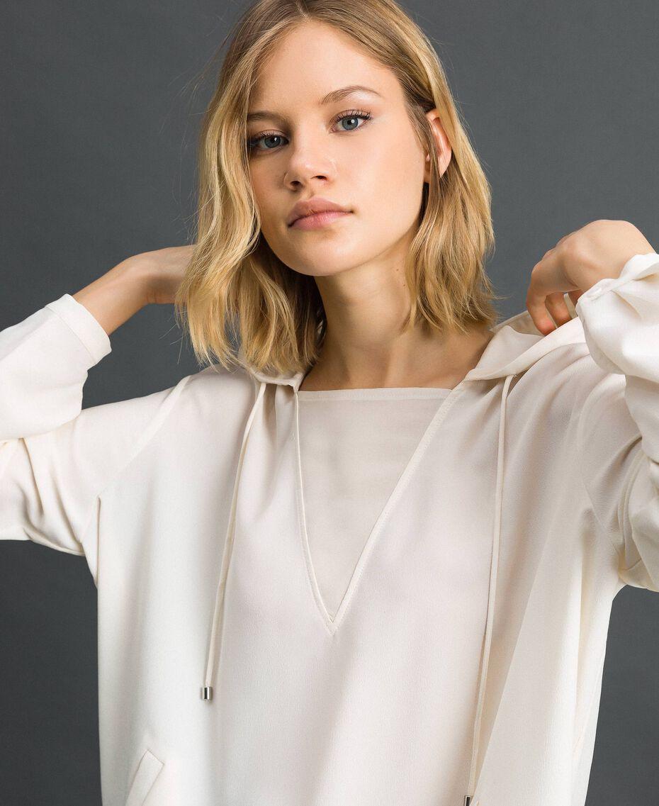 Blusa in crêpe de Chine con cappuccio Bianco Neve Donna 192ST2080-05