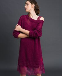Mohair dress with lurex stripes and slip Beet Red Woman 192TP3291-01