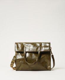 Borsa shopper Twinset Bag in pelle ripiegabile Dark Olive Green Donna 202TB7099-03