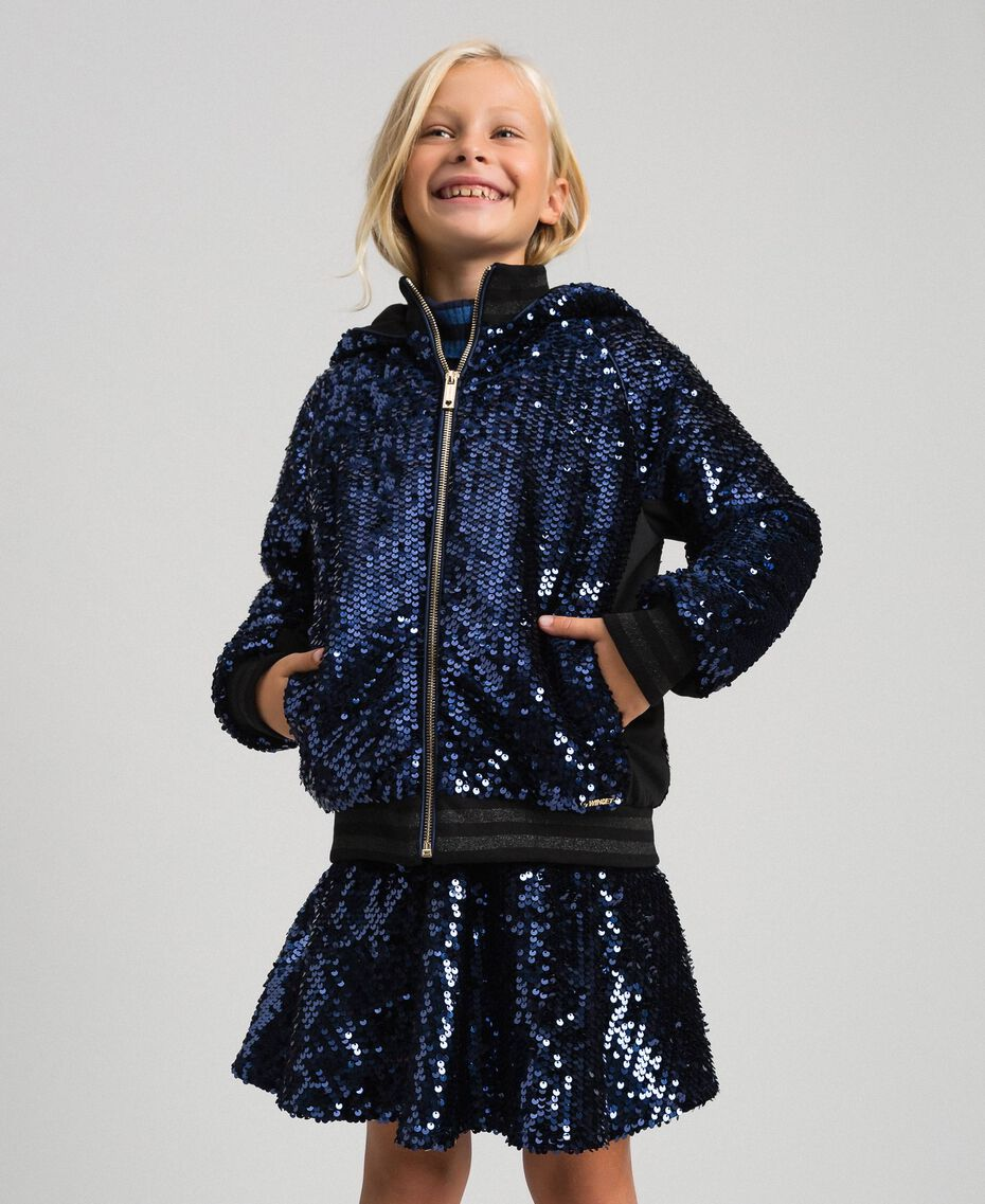 Velvet bomber jacket with sequins Blue Night Child 192GJ2090-02
