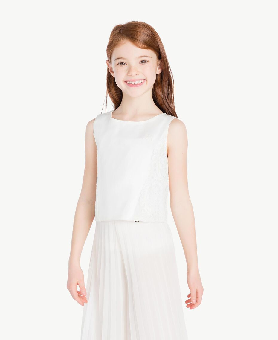 Duchess satin top Pale Cream Child GS8LDB-02
