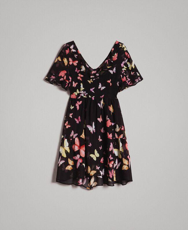 Robe en georgette à imprimé papillon Imprimé Papillon Noir Mixte Femme 191TT2394-0S