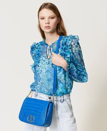 "Leather shoulder bag with crocodile print ""Nautical Blue"" Croc Print Woman 211TD8033-0S"