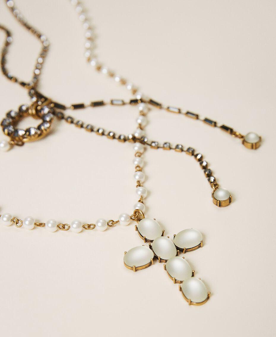 Rosenkranzhalskette mit Perlen und Strass Weiß Pergament Frau 202TO5045-02