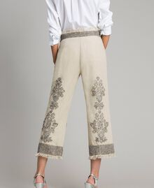 """Linen trousers with beads and sequins """"Sand"""" Beige Woman 191TT2061-04"""