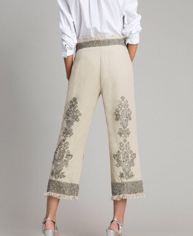 """Pantalon en lin orné de perles et de sequins Beige """"Sable"""" Femme 191TT2061-04"""