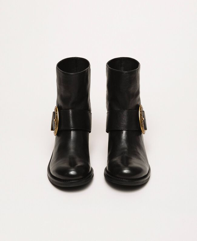 Leather biker boots with maxi buckle Black Woman 201TCP058-04