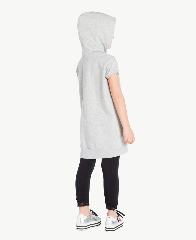 Kleid mit Nieten Hellgrau-Mélange Kind GS82G1-04