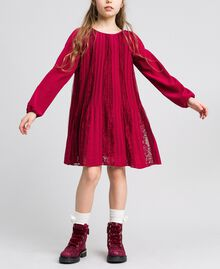 Pleated crêpe and lace dress Ruby Wine Red Child 192GJ2521-04