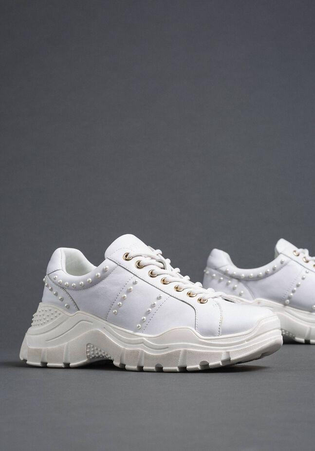 Chaussures de running en cuir lamé avec perles
