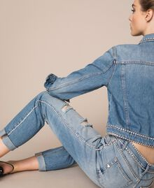 Rhinestone Girlfriend jeans Denim Blue Woman 201MP2275-05
