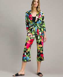 Marocain-Hose mit Blumenmuster Motiv Schwarzer Garten Frau 191TT2471-0T