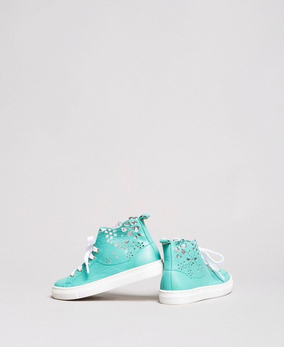 "Nappa sneakers with perforated detail ""Island Paradise"" Light Blue Child 191GCJ172-03"