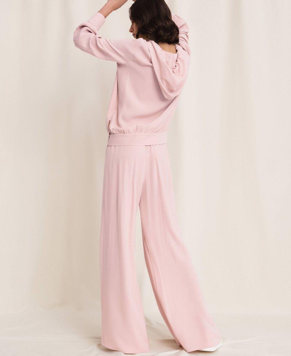 "Georgette palazzo trousers ""Peachskin"" Pink Woman 201LL2NCC-03"