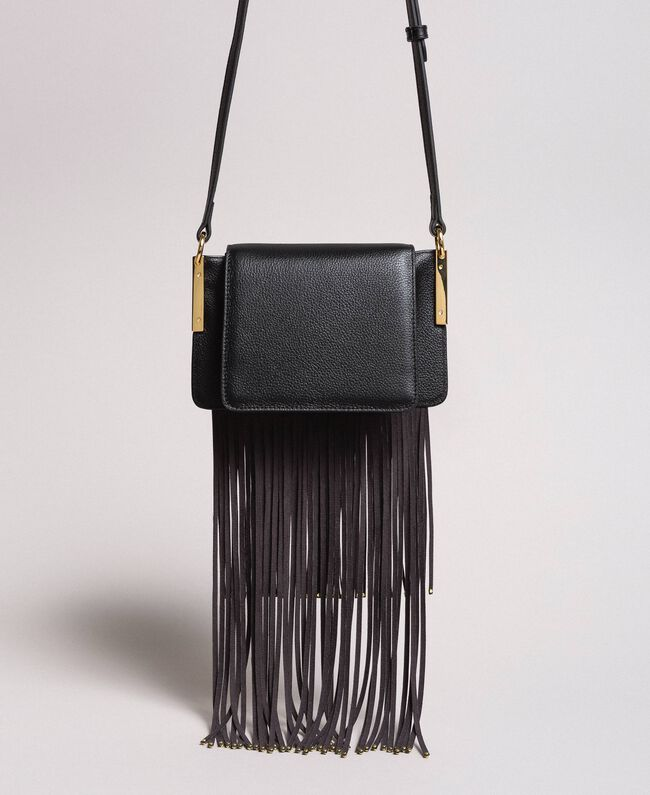 Leather Bea shoulder bag with fringes Black Woman 191TO8231-03