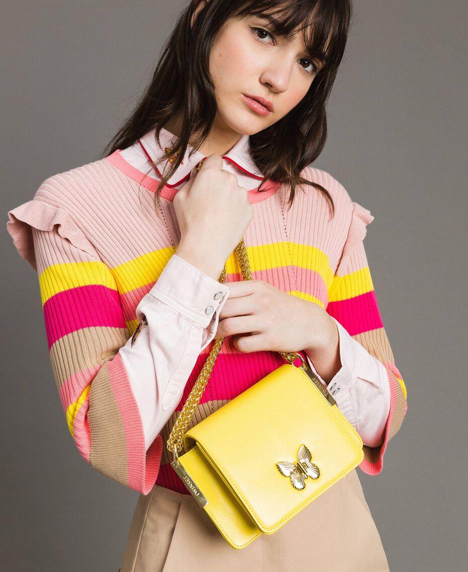 Petit Bea Bag à bandoulière en cuir Jaune Papillon Femme 191TA7142-0S