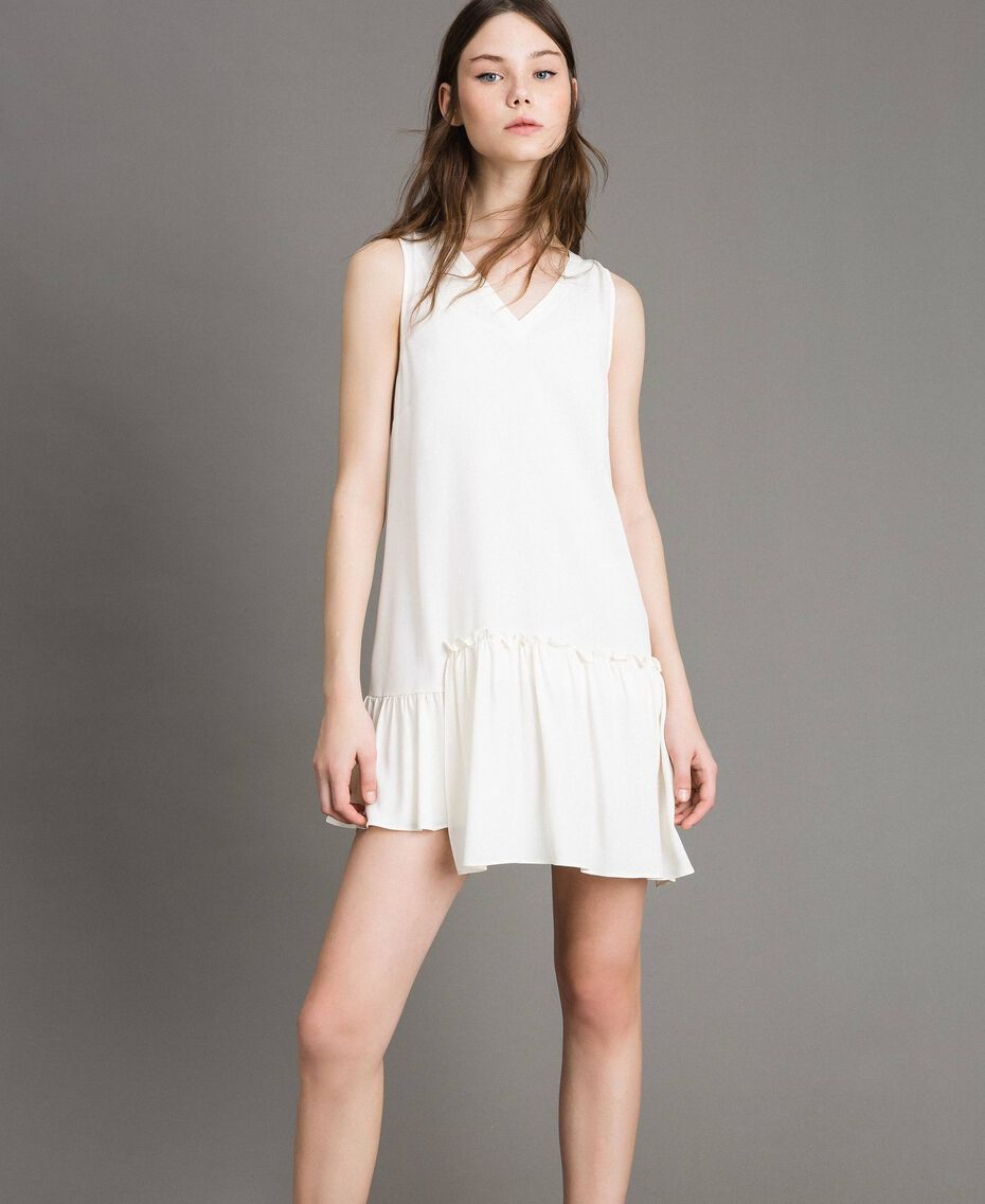 "Mixed silk mini dress with flounce ""Silk"" White Woman 191TP2460-02"