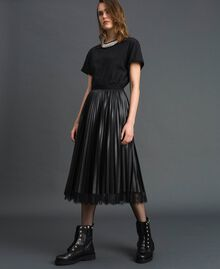 Faux leather pleated midi skirt Black Woman 192TP2064-02