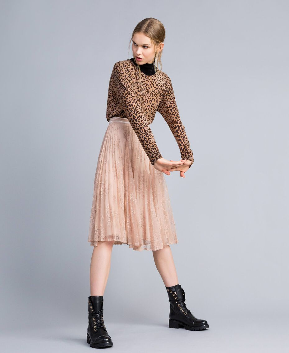 "Pleated lace skirt with lurex ""Nude"" Beige Woman SA82HH-02"