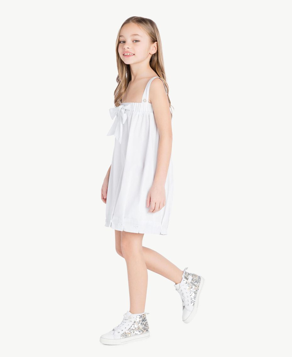 "Robe popeline Blanc ""Papers"" Enfant GS82QN-03"