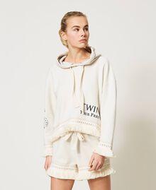 """Sweatshirt mit Logo und Fransen """"Butter Cream""""-Weiß Frau 211LL2VGG-01"""
