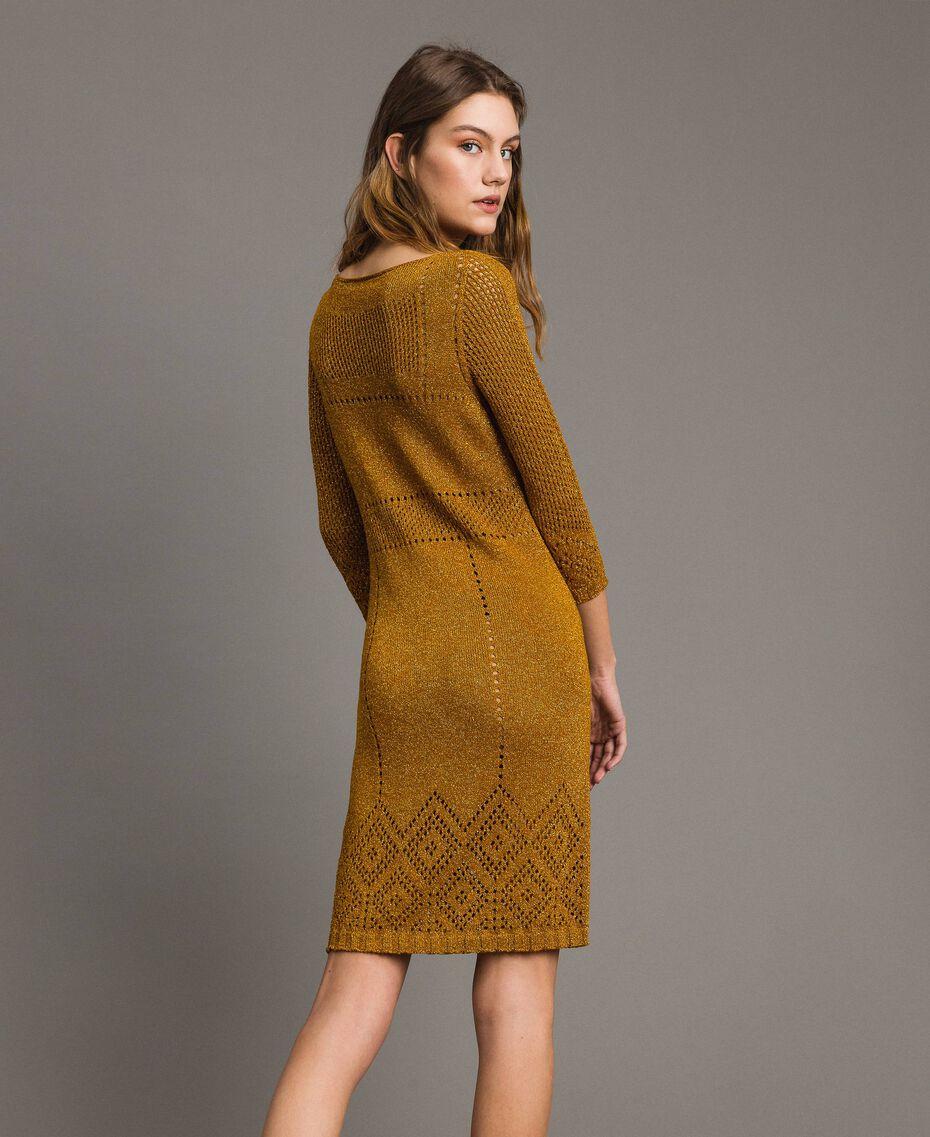 """Openwork lurex dress """"Golden Oak"""" Gold Lurex Woman 191TT3111-03"""