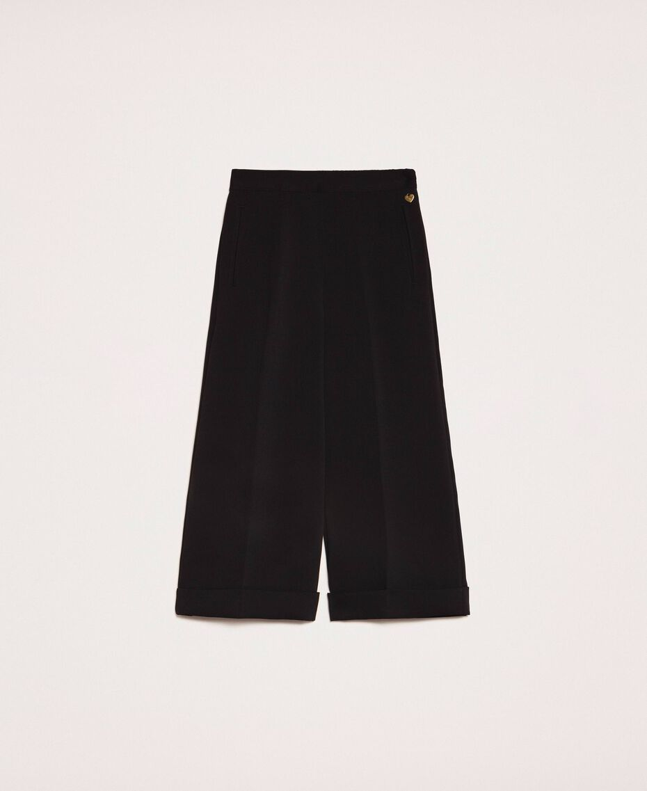 Wide georgette trousers Black Woman 201TP202C-0S