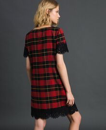 Chequered wool dress with lace Pomegranate Tartan Jacquard Woman 192TP2621-03