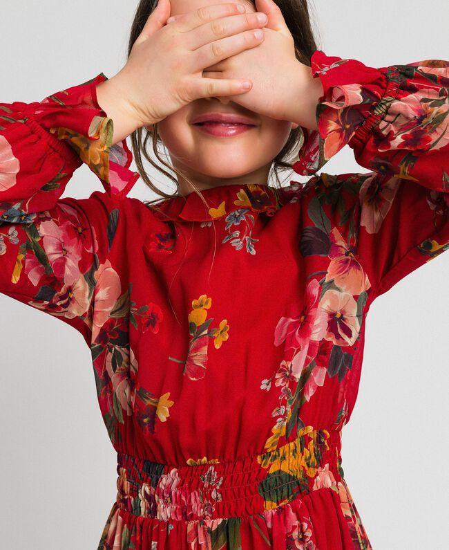 Kleid aus Georgette mit Blumenprint Feldblumenprint Granatapfel Kind 192GJ2592-04