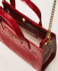 "Small leather Twinset Bag with crocodile print ""Cherry"" Red Croc Print Woman 202TB7111-05"