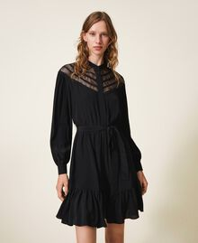 Silk blend dress with laces Black Woman 202TT2240-01